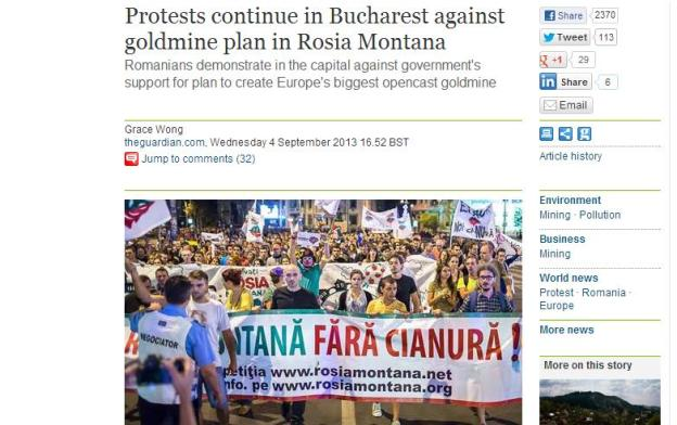 The Guardian article about Rosia Montana protests